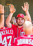 15 March 2016: Washington Nationals infielder Daniel Murphy returns to the dugout after scoring during a Spring Training pre-season game against the Houston Astros at Osceola County Stadium in Kissimmee, Florida. The Nationals defeated the Astros 6-4 in Grapefruit League play. Mandatory Credit: Ed Wolfstein Photo *** RAW (NEF) Image File Available ***