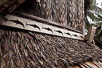 Dolphins on custom men's house, Yap Micronesia<br /> (Photo by Matt Considine - Images of Asia Collection)
