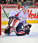 13 December 2008: Washington Capitals' goaltender Brent Johnson warms up prior to facing the Montreal Canadiens at the Bell Centre in Montreal, Quebec, Canada. ***** Editorial Sales Only ***** Mandatory Photo Credit: Ed Wolfstein Photo