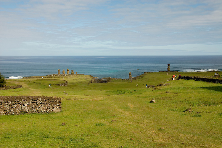 Chile, Easter Island: Wide angle view of historic village called Ahu Tahai, near Hanga Roa..Photo #: ch228-33090..Photo copyright Lee Foster www.fostertravel.com lee@fostertravel.com 510-549-2202