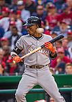 7 April 2016: Miami Marlins infielder Dee Gordon is brushed back by a pitch in the second inning of the Washington Nationals Home Opening Game at Nationals Park in Washington, DC. The Marlins defeated the Nationals 6-4 in their first meeting of the 2016 MLB season. Mandatory Credit: Ed Wolfstein Photo *** RAW (NEF) Image File Available ***