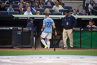 BRONX, NY - Friday April 15, 2015: RJ Allen leaves the field after being ejected by a red card in the first half.  Expansion team New York City FC ties the Chicago Fire 2-2 at home at Yankee Stadium during the MLS regular season.