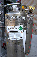 LIQUID NITROGEN TANKS<br /> Liquid Nitrogen Warning Label<br /> Electrical feeders run through pipes filled with insulating oil which becomes very hot. When work needs to be done on these feeders, liquid nitrogen is used to feeze the oil in the pipes on either side of the of the work area.
