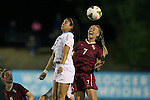 23 October 2014: Florida State's Dagny Brynjarsdottir (ISL) (7) and North Carolina's Alex Kimball (left). The University of North Carolina Tar Heels hosted the Florida State University Seminoles at Fetzer Field in Chapel Hill, NC in a 2014 NCAA Division I Women's Soccer match. The game ended in a 1-1 tie after double overtime.
