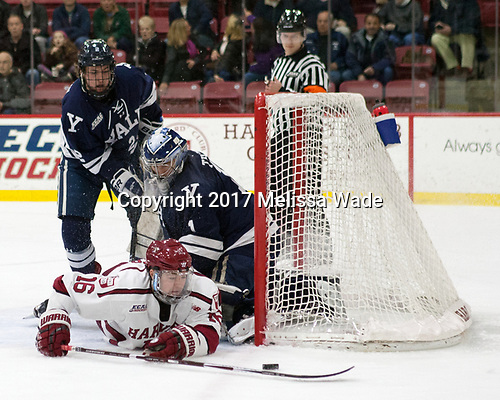 Adam Larkin (Yale - 2), Ryan Donato (Harvard - 16), Sam Tucker (Yale - 1) - The Harvard University Crimson defeated the Yale University Bulldogs 6-4 in the opening game of their ECAC quarterfinal series on Friday, March 10, 2017, at Bright-Landry Hockey Center in Boston, Massachusetts.