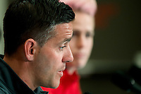 June 20, 2015: John HERDMAN coach of Canada talks to the media at a press conference prior to a round of 16 match between Canada and Switzerland at the FIFA Women's World Cup Canada 2015 at BC Place Stadium on 21 June 2015 in Vancouver, Canada. Sydney Low/Asteriskimages.com