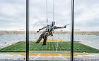 Aug. 22, 2013; Window washing in the ND Stadium press box.<br /> <br /> Photo by Matt Cashore/University of Notre Dame