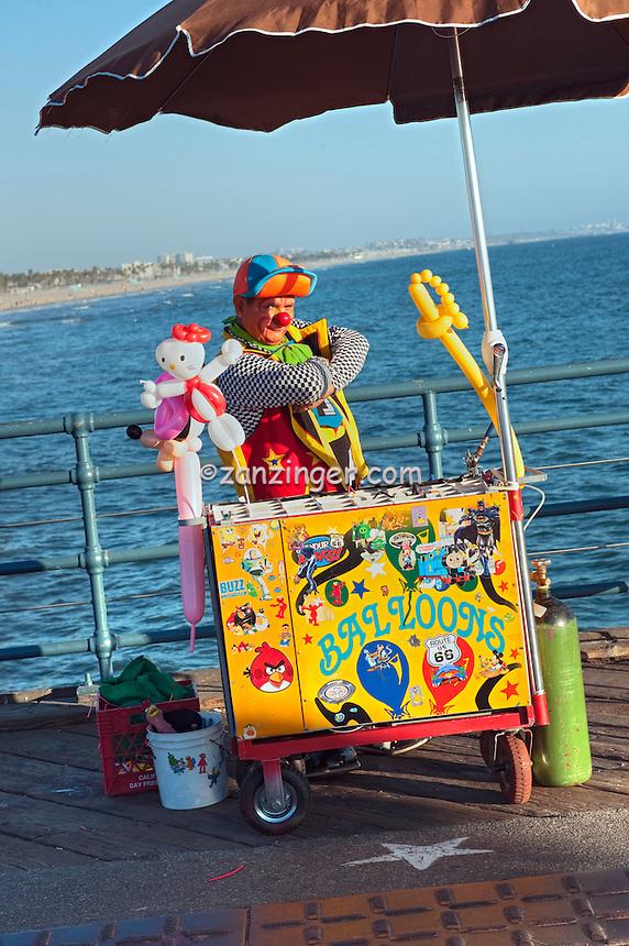 Santa Monica CA Pier, Balloon Artist, Pacific Park, California, North America Santa Monica Pier,  Pacific Park Amusements, Over Water