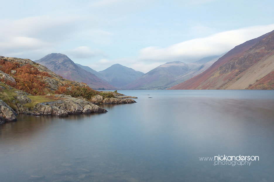 View along Wast Water towards Yewbarrow, Great Gable and Lingmell mountains, at dusk (Nick Anderson)