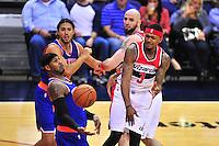 Wizards Bradley Ball passes the ball to teammate. John Wall. New York defeated Washington 115-104 during a NBA preseason game at the Verizon Center in Washington, D.C. on Friday, October 9, 2015.  Alan P. Santos/DC Sports Box