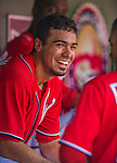 27 July 2013: Washington Nationals infielder Anthony Rendon smiles in the dugout during a game against the New York Mets at Nationals Park in Washington, DC. The Nationals defeated the Mets 4-1. Mandatory Credit: Ed Wolfstein Photo *** RAW (NEF) Image File Available ***