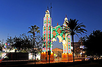 Colourful, illuminated entrance to annual fiesta, fairground San Pedro de Alcantara, Marbella, Spain, 201510151742<br /> <br /> Copyright Image from Victor Patterson, 54 Dorchester Park, Belfast, UK, BT9 6RJ<br /> <br /> t1: +44 28 9066 1296 (from Rep of Ireland 048 90661296)<br /> t2: +44 28 9002 2446 (from Rep of Ireland 048 90022446)<br /> m: +44 7802 353836<br /> <br /> e1: victorpatterson@me.com<br /> e2: victorpatterson@gmail.com<br /> <br /> www.victorpatterson.com<br /> <br /> IMPORTANT: Please see my Terms and Conditions of Use at www.victorpatterson.com