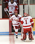 Ahti Oksanen (BU - 3), Ryan Ruikka (BU - 2), Anthony Moccia (BU - 1) - The Boston University Terriers defeated the visiting Northeastern University Huskies 5-0 on senior night Saturday, March 9, 2013, at Agganis Arena in Boston, Massachusetts.