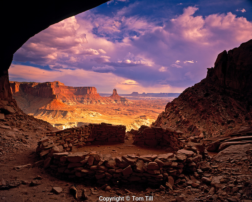 Ruin in a Cave, National Park, Utah  Circular Prayer Circle or Observation site        Green River Canyons Afternoon summer