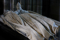 Catherine de' Medici (1519 - 1589), statue-gisant in coronation vestments, marble, by Germain Pilon, commissionned by Catherine de' Medici in 1583, Abbey church of Saint Denis, Seine Saint Denis, France. Picture by Manuel Cohen