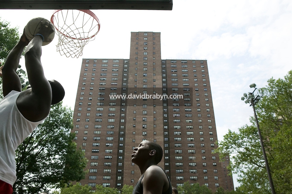 12 June 2006 - New York City, NY - Players compete in the tryouts for the Rucker's street basketball tournament, at Rucker Park in Harlem, New York City, USA, Sunday June 12 2005. Photo Credit: David Brabyn