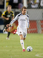 Galaxy midfielder David Beckham (23) moves the ball up the field during the second half of the game between LA Galaxy and the Columbus Crew at the Home Depot Center in Carson, CA, on September 11, 2010. LA Galaxy 3, Columbus Crew 1.