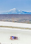 5 December 2014: Riley Stohr, sliding for the USA, slides through Curve Number 14 on his first run, ending the day with a 11th place finish and a combined 2-run time of 1:43.659 in the Men's Competition at the Viessmann Luge World Cup, at the Olympic Sports Track in Lake Placid, New York, USA. Mandatory Credit: Ed Wolfstein Photo *** RAW (NEF) Image File Available ***