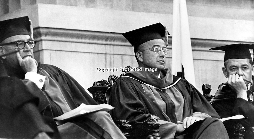 "University of California at Berkeley, seated from the left: California Gov. Edmund :Pat"" Brown, U.C .President Clark Kerr, and U.C. Chancellor Roger Heyns. (1966 photo/Ron Riesterer)"