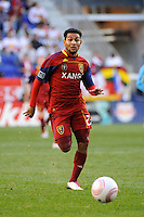 Paulo Araujo Jr. (23) of Real Salt Lake. The New York Red Bulls and Real Salt Lake played to a 0-0 tie during a Major League Soccer (MLS) match at Red Bull Arena in Harrison, NJ, on October 09, 2010.