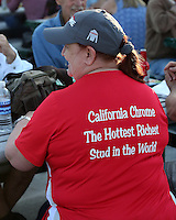 HALLANDALE BEACH, FL - JANUARY 28:  California Chrome fan proudly wears her support while waiting for the $12,000,000 Pegasus World Cup Invitational Stakes to begin on Pegasus World Cup Invitational Day at Gulfstream Park on January 28, 2017 in Hallandale Beach, Florida. (Photo by Liz Lamont/Eclipse Sportswire/Getty Images)