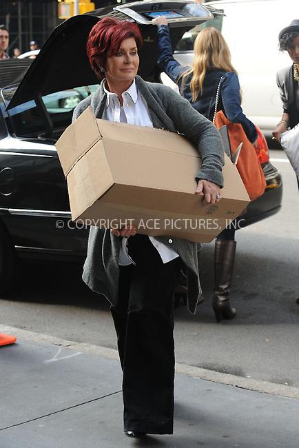 WWW.ACEPIXS.COM . . . . . ....October 21 2009, New York City....Sharon Osbourne was spotted taking part as a contestant on Donald Trump's 'Celebrity Apprentice' show in Chelsea on October 21 2009 in New York City....Please byline: KRISTIN CALLAHAN - ACEPIXS.COM.. . . . . . ..Ace Pictures, Inc:  ..tel: (212) 243 8787 or (646) 769 0430..e-mail: info@acepixs.com..web: http://www.acepixs.com