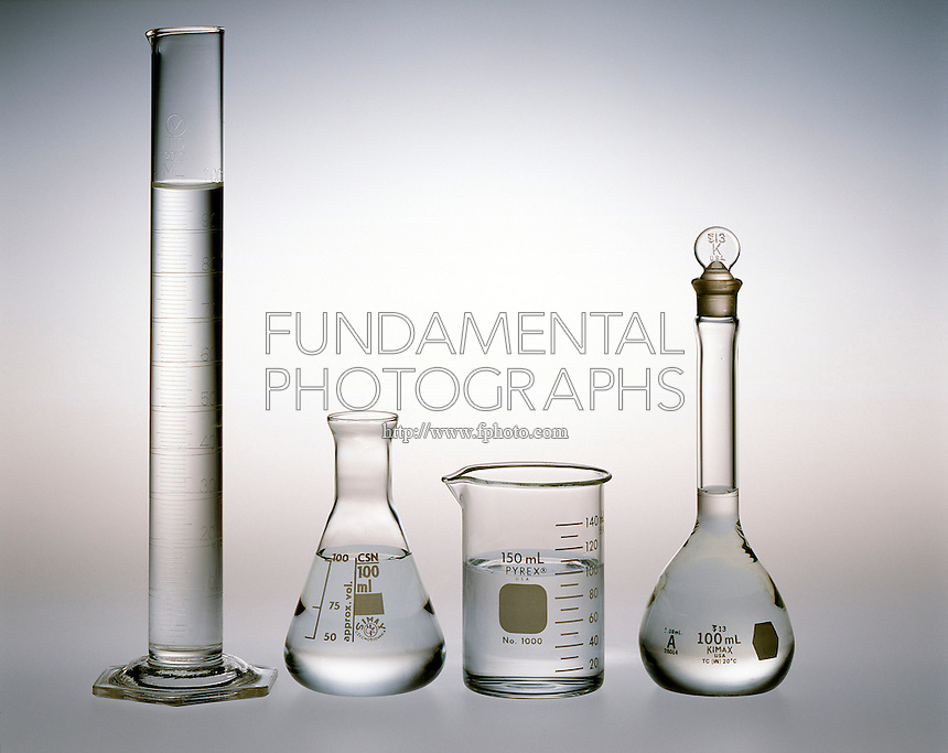 WATER TAKES ON SHAPE OF CONTAINER.All Samples Contain 100ml Of Water.Liquids fill containers, conforming to their shape, starting with the lowest reachable part of the container.