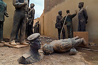Baghdad, Iraq, June 2, 2003.Discarded statues of Saddam's regime war heroes....
