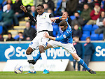 St Johnstone v Inverness Caley Thistle...02.05.15   SPFL<br /> Edward Ofere holds off James McFadden<br /> Picture by Graeme Hart.<br /> Copyright Perthshire Picture Agency<br /> Tel: 01738 623350  Mobile: 07990 594431