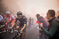Alex Dowsett (GBR/Movistar) up the  smoke- &amp; tifosi-packed Capo Berta (38 km's before the finish)<br /> <br /> 108th Milano - Sanremo 2017