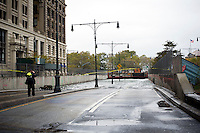 The Battery Park Underpass is seen completely submerged because of flooding from Hurricane Sandy, seen on Tuesday, October 30, 2012. Hurricane Sandy roared into New York disrupting the transit system and causing widespread power outages. Con Edison is estimating it will take four days to get electricity back to Lower Manhattan. (© Frances M. Roberts)