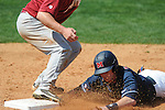 Ole Miss' Austin Anderson (8) is caught off first for an out on a line drive out at Oxford-University Stadium in Oxford, Miss. on Sunday, March 20, 2011.  (AP Photo/Oxford Eagle, Bruce Newman)