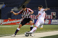 Marcelo Saragosa (55) of Chivas USA and Ernst Oebster (21) of the New York Red Bulls battle for the ball. Chivas USA defeated the New York Red Bulls 2-0 during a Major League Soccer match at Giants Stadium in East Rutherford, NJ, on August 15, 2009.