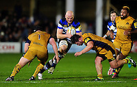Matt Garvey of Bath Rugby takes on the Bristol Rugby defence. Aviva Premiership match, between Bath Rugby and Bristol Rugby on November 18, 2016 at the Recreation Ground in Bath, England. Photo by: Patrick Khachfe / Onside Images