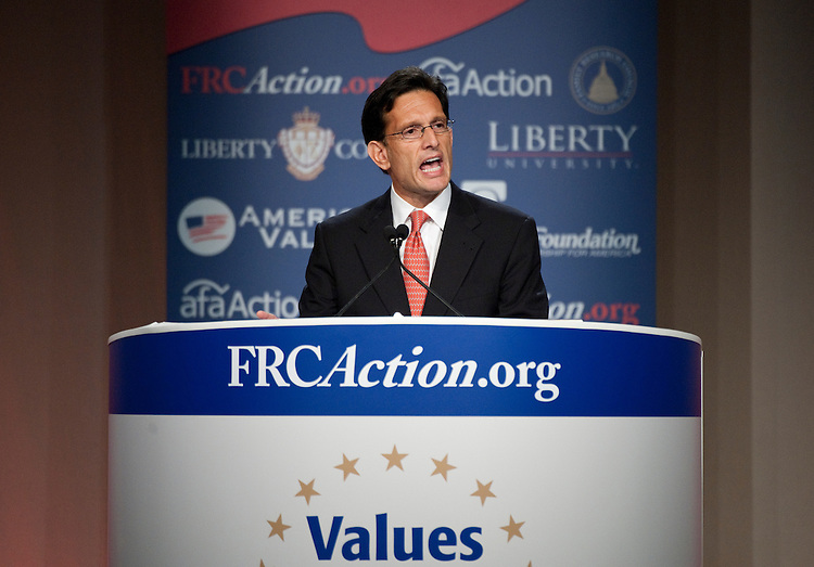 UNITED STATES - OCTOBER 7: House Majority Leader Eric Cantor, R-Va., speaks at the Family Research Council's Values Voter Summit in Washington on Friday, Oct. 7, 2011. (Photo By Bill Clark/CQ Roll Call)