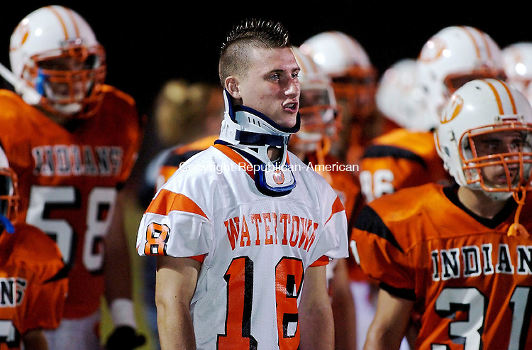 WATERTOWN, CT--04 October 07--100407TJ11 - Paul Chowaniec, a Watertown High School football player who was injured during a recent game, watches the Indians' 34-15 win against Wilby High School, in Watertown, Conn., on Thursday, October 4, 2007. T.J. Kirkpatrick/Republican-American