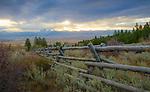 Idaho, East, Driggs, . Looking over the Teton Valley to the Teton Range in autumn.