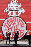 Toronto, ON, Canada - Thursday Dec. 08, 2016: Dwayne De Rosario, Toronto mayor John Tory, MLS Cup during a press conference prior to MLS Cup at BMO Field.