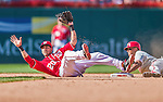7 September 2014: Washington Nationals shortstop Ian Desmond gets Ben Revere out stealing second on a reviewed and overturned play in the 8th inning against the Philadelphia Phillies at Nationals Park in Washington, DC. The Nationals defeated the Phillies 3-2 to salvage the final game of their 3-game series. Mandatory Credit: Ed Wolfstein Photo *** RAW (NEF) Image File Available ***