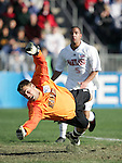 New Mexico goalkeeper Mike Graczyk watches a ball roll just wide of the net. The University of Maryland Terrapins defeated the University of New Mexico Lobos 1-0 in the Men's College Cup Championship game at SAS Stadium in Cary, NC, Friday, December 11, 2005.