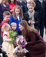 Kate, Duchess Of Cambridge who is 5 months pregnant visits Havelock Academy - UK