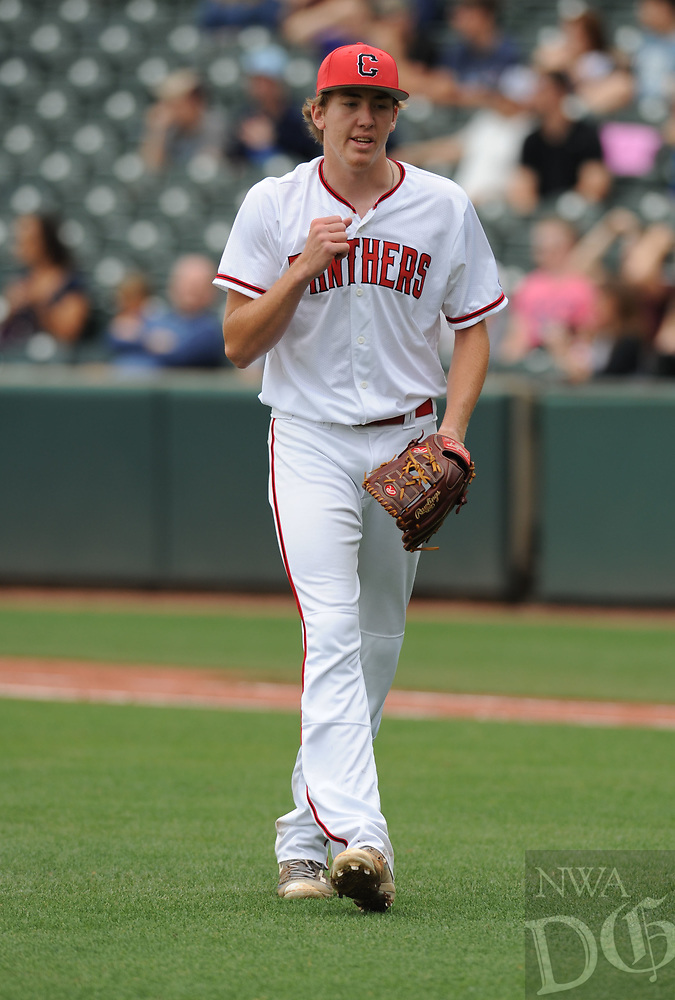 NWA Democrat-Gazette/ANDY SHUPE<br /> Cabot starter Logan Gilbertson celebrates the third out Friday, May 19, 2017, as he returns to the dugout against Springdale Har-Ber during the Class 7A state championship game at Baum Stadium in Fayetteville. Visit nwadg.com/photos to see more photographs from the game.
