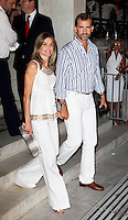 Crown Prince Felipe, and Crown Princess Letizia of Spain attend a Cocktail Party at The Poseidonion Hotel, in Spetses, Greece, on the eve of the Wedding of Prince Nikolaos of Greece to Tatiana Blatnik.