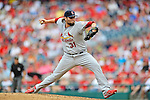 2 September 2012: St. Louis Cardinals pitcher Lance Lynn in action against the Washington Nationals at Nationals Park in Washington, DC. The Nationals edged out the visiting Cardinals 4-3, capping their 4-game series with three wins. Mandatory Credit: Ed Wolfstein Photo