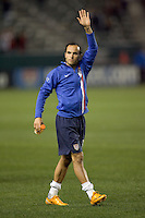 USA forward & team captain (10) Landon Donovan salutes the fans of Home Depot Center after the game as he exits the field.  The United States defeated Sweden 2-0 during an international friendly at the Home Depot Center in Carson, California on Saturday, January 19, 2008.