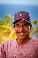 "Pe'ahi, Maui, HAWAII - (December 8, 2012) Carlos Burle (BRA). - Invitees and alternates of the RED BULL JAWS, Paddle at Pe'ahi big wave event gathered high upon the Pe'ahi Overlook in a private blessing that officially opened the three-month holding period for this one-day event. A spiritual ceremony, deeply rooted in Maui's history and Polynesian culture, took place under unusually clear and hot skies, with barely a breath of wind.  . The RED BULL JAWS, Paddle at Pe'ahi presented by Casio G'z One is a one-day big wave paddle-in surfing event that will be held on a single day between December 7, 2012 and March 15, 2013, when wave face heights reach between 30 and 50 feet, and with no assistance from motorized personal watercraft..Led by Kupuna Leslie Kuloloio and Kumu Pulama Collier, surfers listened to the ancestral story of Pe'ahi - known to Hawaiians as Ke Kai 'o Waitakulu, or ""the teary eye place"". Each was presented with a special kihei, or cloak, in recognition of their expertise in big wave riding..  Photo: joliphotos.com"