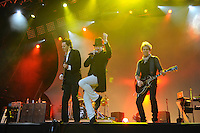 Duran Duran play at the Lovebox Weekender at Victoria Park in London. They were joined by Mark Ronson for the encore.