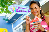 Teen Girl Enjoying Refreshing Shave Ice At Uilani's Shave Ice Stand