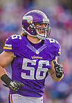 19 October 2014: Minnesota Vikings inside linebacker Michael Mauti returns to the huddle in the fourth quarter against the Buffalo Bills at Ralph Wilson Stadium in Orchard Park, NY. The Bills defeated the Vikings 17-16 in a dramatic, last minute, comeback touchdown drive. Mandatory Credit: Ed Wolfstein Photo *** RAW (NEF) Image File Available ***