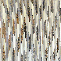 Pamir, a hand-cut jewel glass mosaic, shown in Quartz and Mirror is part of the Ikat Collection by Sara Baldwin for New Ravenna Mosaics.<br />